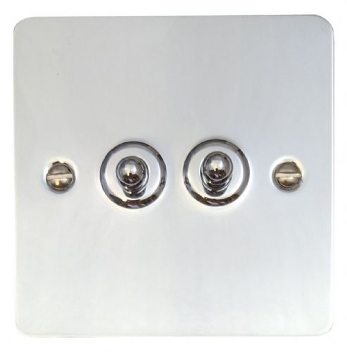 G&H FC282 Flat Plate Polished Chrome 2 Gang 1 or 2 Way Toggle Light Switch